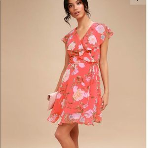 "Lulus ""meet me in the garden"" Floral Wrap Dress"